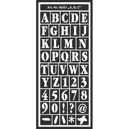 Šablona samolepicí flexibilní, Abeceda, 12,5 x 28,5 cm