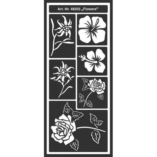 Šablona samolepicí flexibilní, Květiny, 12,5 x 28,5 cm