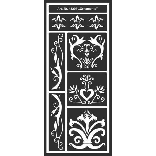 Šablona samolepicí flexibilní, Ornamenty 12,5 x 28,5 cm