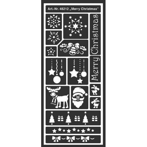 Šablona samolepicí flexibilní, Veselé Vánoce, 12,5 x 28,5 cm