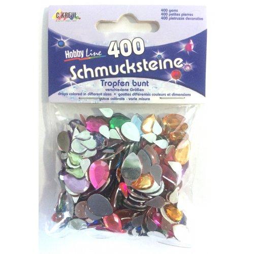 Štrasové kamínky, Kapka barevná v různých velikostech, 400 ks