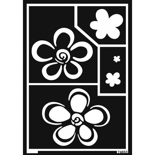 Šablona samolepicí flexibilní, květiny, A5