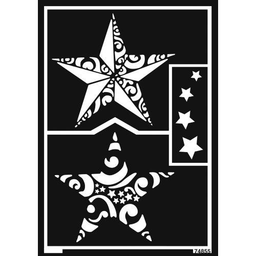 Šablona samolepicí flexibilní, vánoční hvězdy, A5