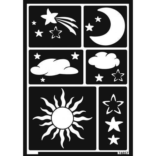 Šablona samolepicí flexibilní, slunce, měsíc a hvězdy, A5