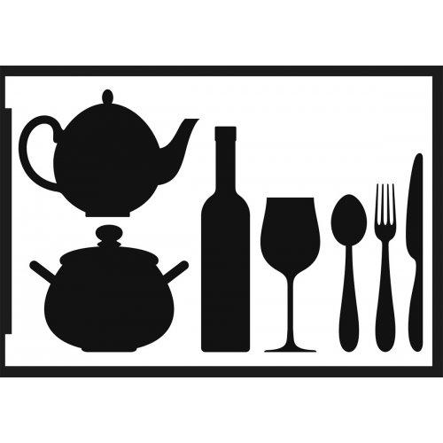 Šablona samolepicí flexibilní, kuchyně, A5 - negativ