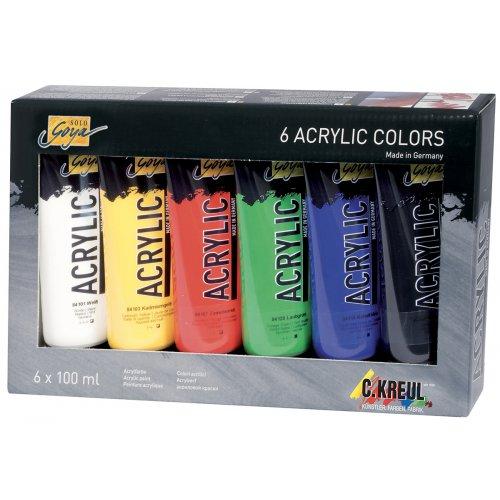 Sada Akrylová barva SOLO GOYA 100 ml v tubě 6 barev