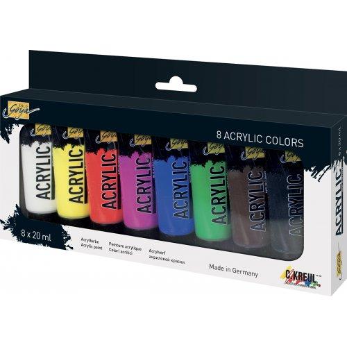 Sada Akrylová barva umělecká SOLO GOYA 20 ml v tubě 8 barev