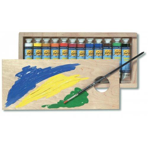 Sada Kvašové barvy TEMPERA SOLO GOYA 20 ml 12 barev v dřevěné kazetě