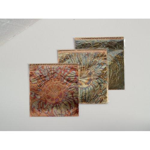 Metalické plátky květiny ART DECO 140 x 140 mm 6 listů modrozlatá