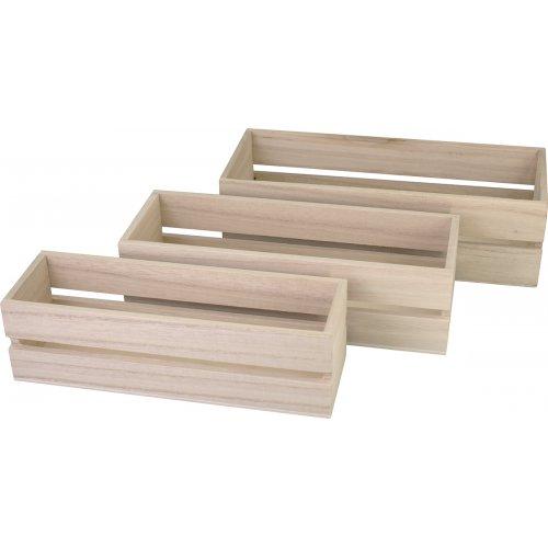Dřevěné truhlíky KREUL sada 3 velikosti