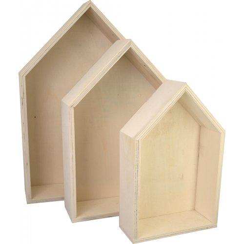 Dřevěná krabice Domek KREUL sada 3 velikosti