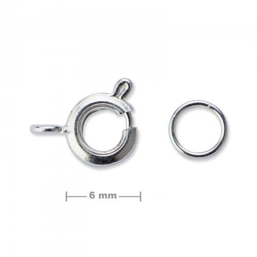 Kroužkové zapínání 6mm stříbrné  5 ks v balení