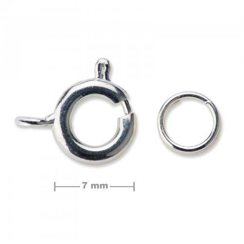 Kroužkové zapínání 7mm stříbrné  5 ks v balení