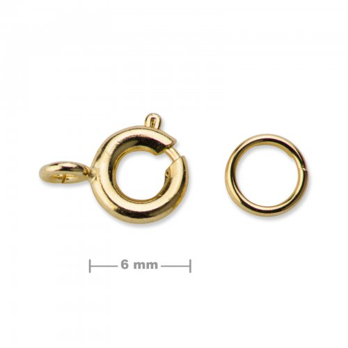 Kroužkové zapínání 6mm zlaté  5 ks v balení