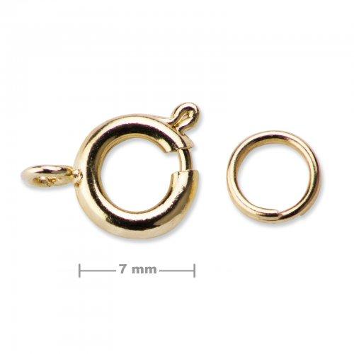 Kroužkové zapínání 7mm zlaté  5 ks v balení