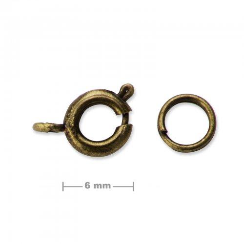 Kroužkové zapínání 6mm staromosaz  5 ks v balení
