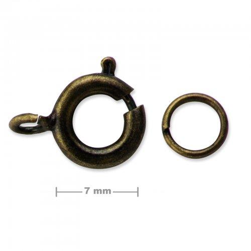 Kroužkové zapínání 7mm staromosaz  5 ks v balení