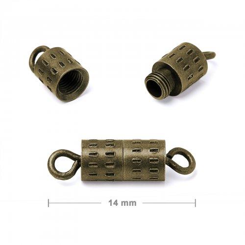Šroubovací zapínání 14 mm staromosaz  5 ks v balení