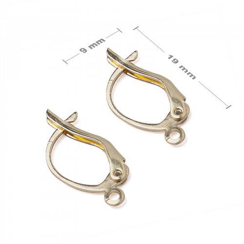 Náušnicové háčky mechanické 19x9mm zlaté - 5 párů v balení