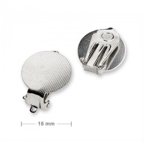 Klipsy ploché 15mm stříbrné - 5 párů v balení