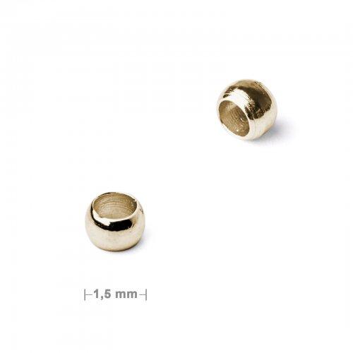 Zamačkávací rokajl 1,5mm zlatý  50 ks v balení