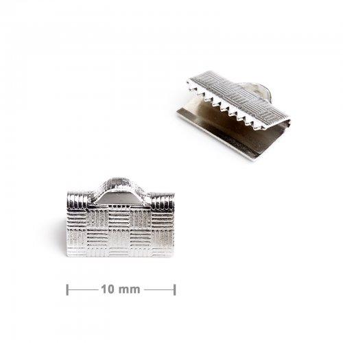 Koncovka na stuhu 10mm stříbrná  10 ks v balení