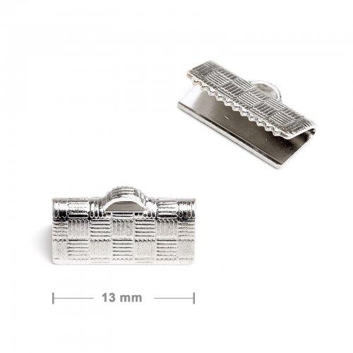 Koncovka na stuhu 13mm stříbrná  10 ks v balení