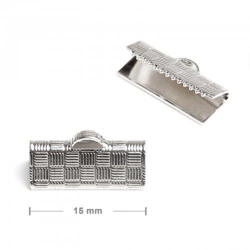 Koncovka na stuhu 15mm stříbrná  10 ks v balení