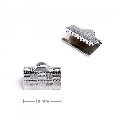 Koncovka na stuhu 10mm platinová  10 ks v balení