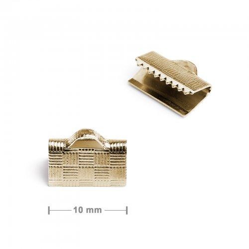 Koncovka na stuhu 10mm zlatá  10 ks v balení