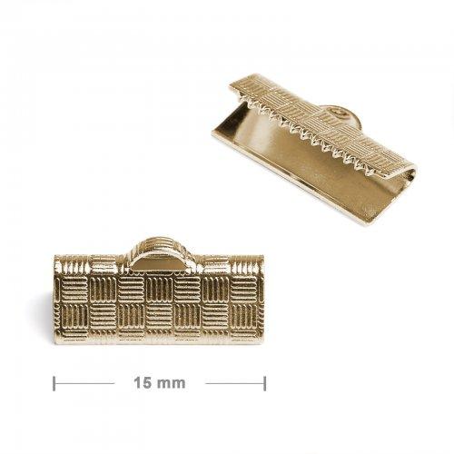 Koncovka na stuhu 15mm zlatá  10 ks v balení