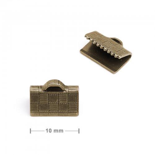 Koncovka na stuhu 10mm staromosaz  10 ks v balení