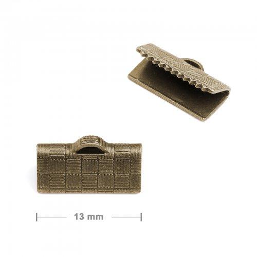 Koncovka na stuhu 13mm staromosaz  10 ks v balení