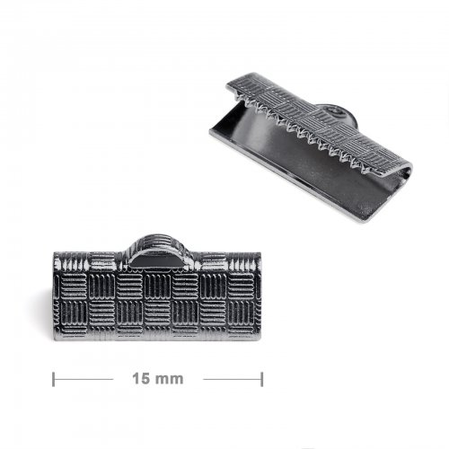 Koncovka na stuhu 15mm antracit  10 ks v balení