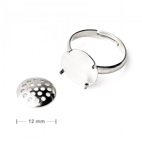 Základ na prsten se sítkem 12mm stříbrný  2 ks v balení