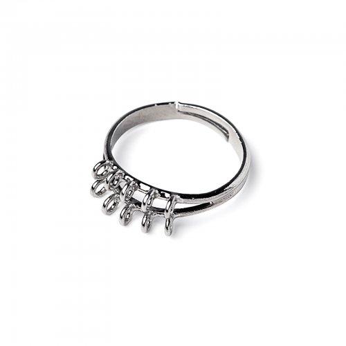 Základ na prsten s očky platinový  2 ks v balení