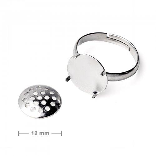 Základ na prsten se sítkem 12mm platinový  2 ks v balení