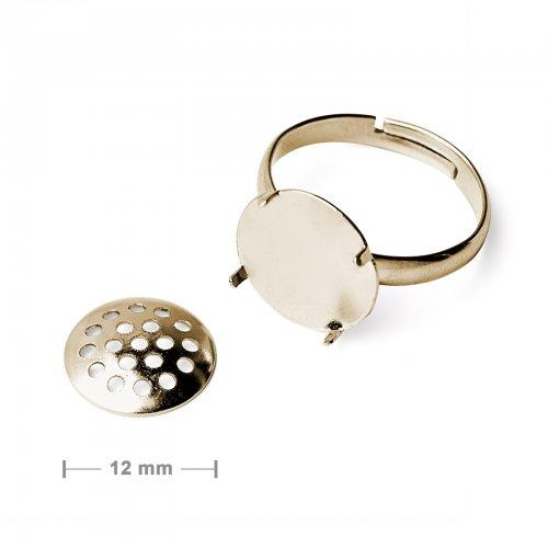 Základ na prsten se sítkem 12mm zlatý  2 ks v balení