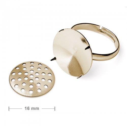 Základ na prsten se sítkem 16mm zlatý  2 ks v balení