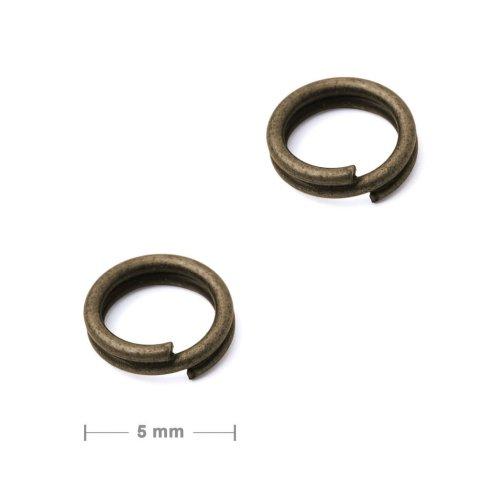 Dvojitý protikroužek 5mm staromosaz  10 ks v balení