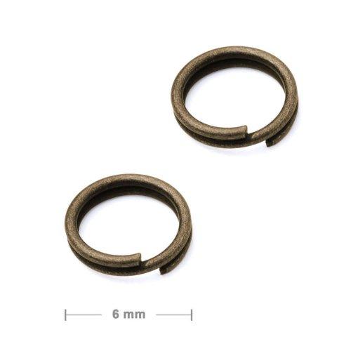 Dvojitý protikroužek 6mm staromosaz  10 ks v balení