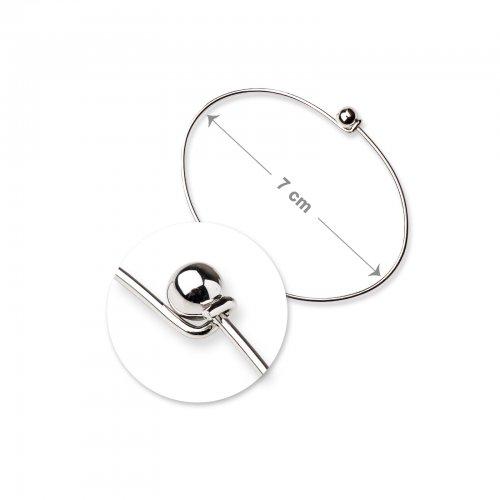 Náramková obruč 7cm stříbrná  1 ks v balení
