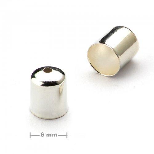 Kaplík hladký 6mm stříbrný  10 ks v balení