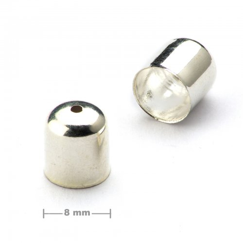 Kaplík hladký 8mm stříbrný  10 ks v balení