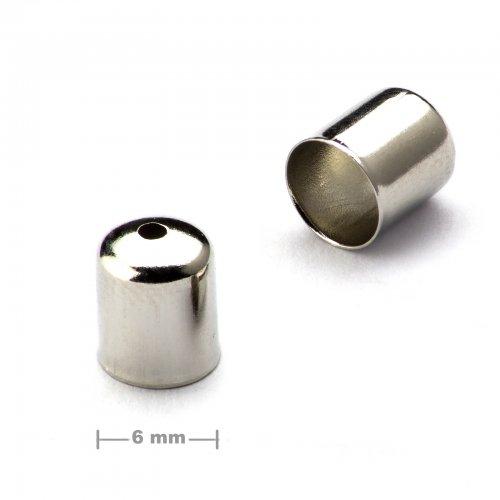 Kaplík hladký 6mm platinový  10 ks v balení