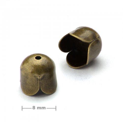 Kaplík tulipán 8mm staromosaz  10 ks v balení