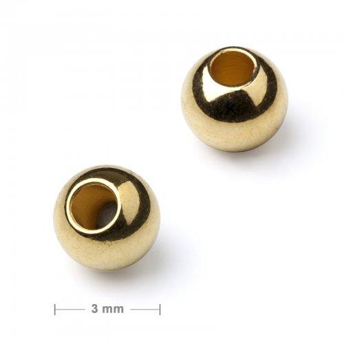 Kovový mezidíl korálek 3 mm zlatý  10 ks v balení