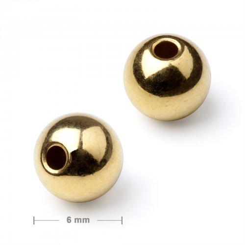Kovový mezidíl korálek 6 mm zlatý  20 ks v balení