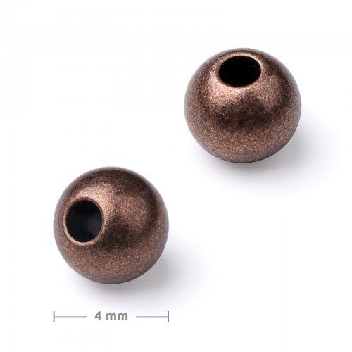 Kovový mezidíl korálek 4 mm staroměď  30 ks v balení