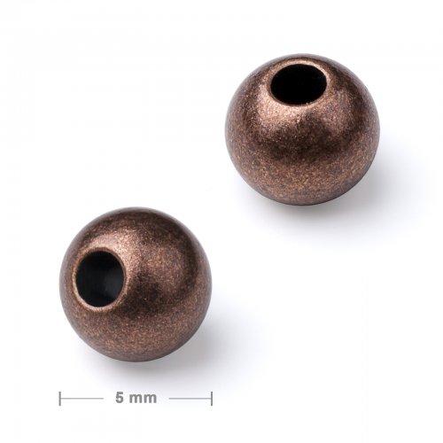 Kovový mezidíl korálek 5 mm staroměď  20 ks v balení